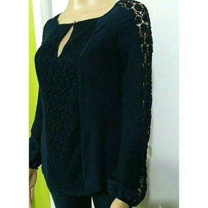 Tory Burch Navy Blue Silk Crochet Lace Blouse Top